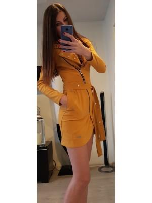 sukienka wiązana musztarda L