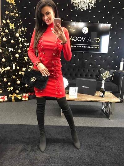sukienka sznurowana czerwona s