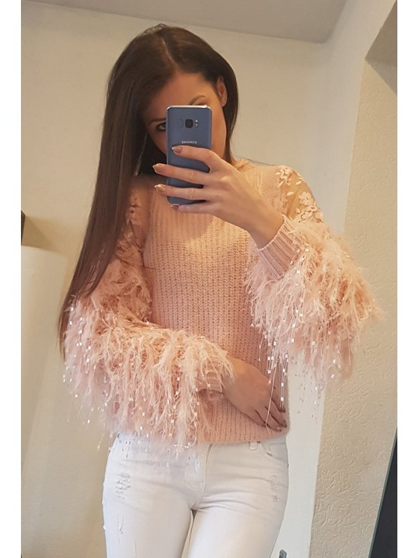 sweterek ala pióra rękawy rózowy