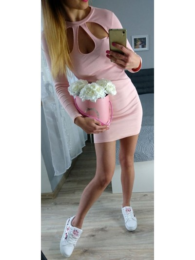 sukienka prązkowana róż 2