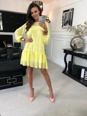 sukienka szyfonowa zółta
