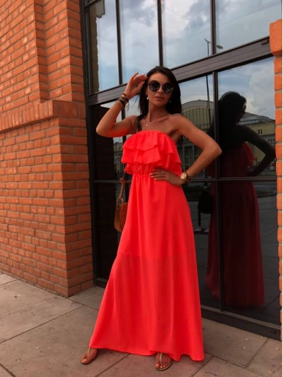 sukienka maxi falbany neon pomarancz