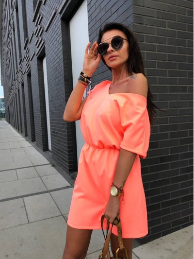 sukienka V neon pomarancz
