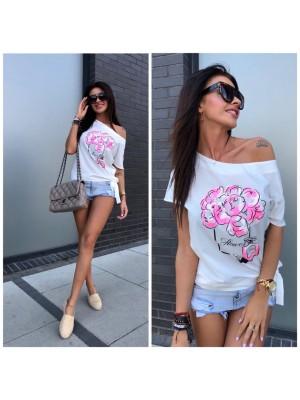 koszulka flower biała