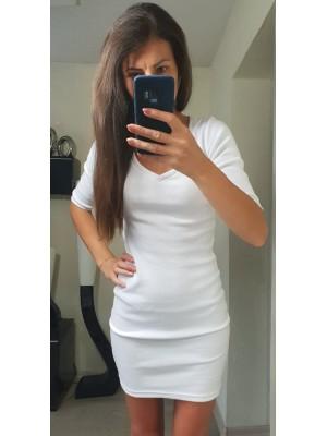 sukienka obcisła V biała