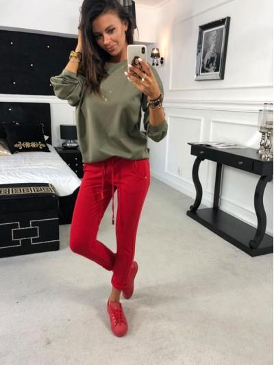 spodnie gold nit czerwone