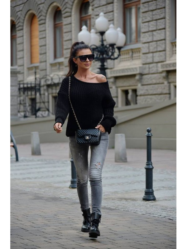 sweter wool czarny