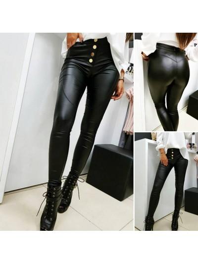 spodnie woskowane czarne złoty guzik m