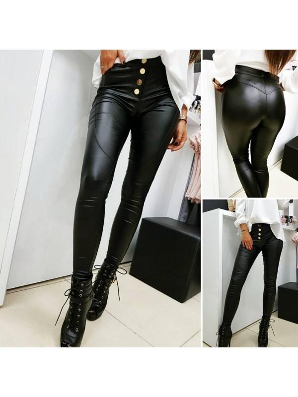 spodnie woskowane czarne złoty guzik L
