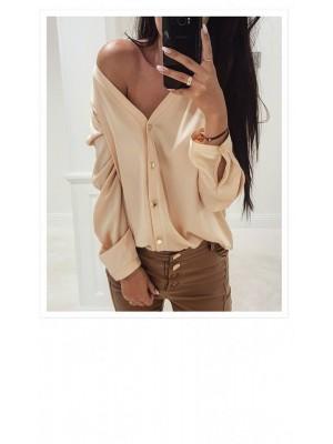 koszula beżowa złote guziki M