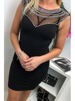 mała czarna z kryształkami i perłami L(m)