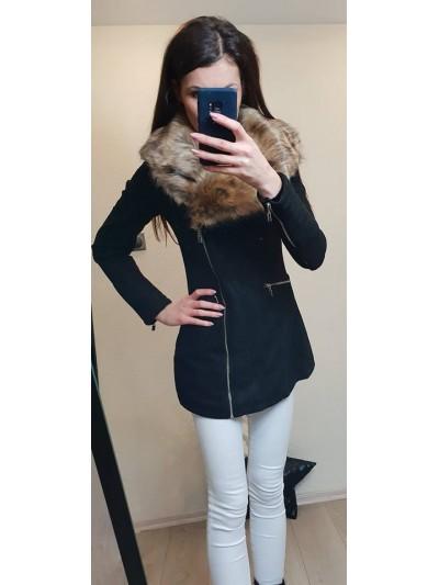 Płaszcz zamszowy z futrem 1