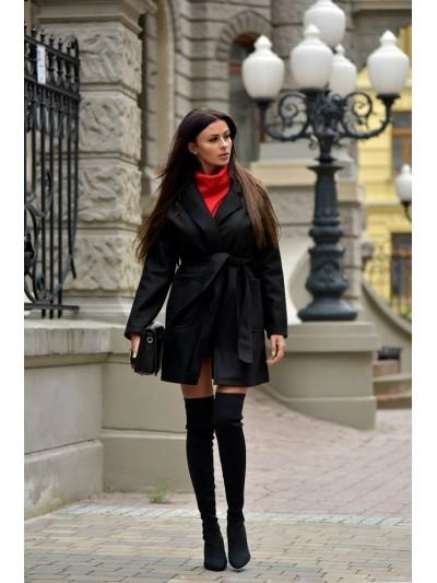 płaszcz wiązany  czarny
