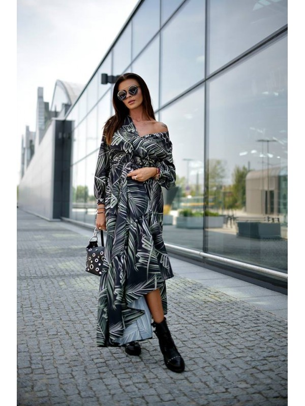 sukienka maxi liscie