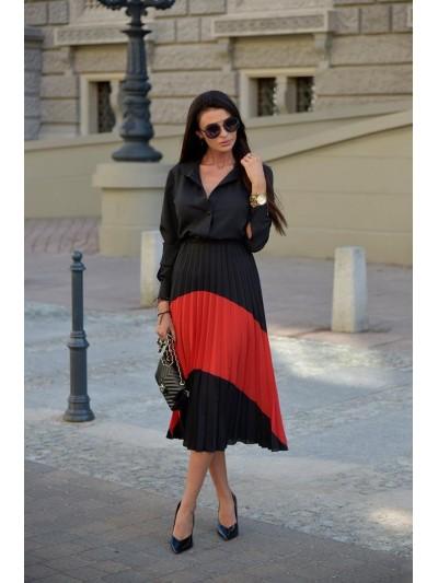 sukienka plisowana czarno-czerwona