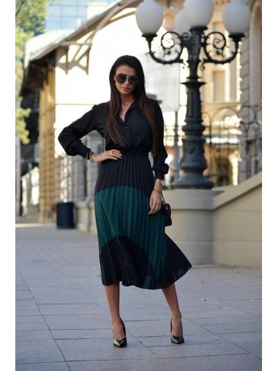 sukienka plisowana czarno-zielona