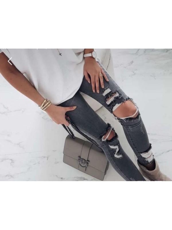 jeansy szare dziury S