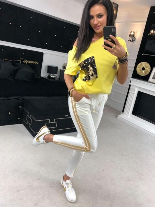bluzka zółta cekin