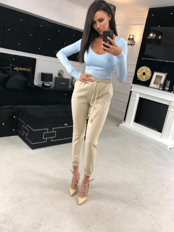 spodnie casual spring bezowe M