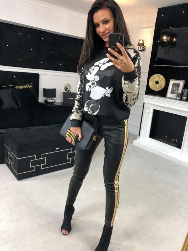 spodnie lampas czarne  s
