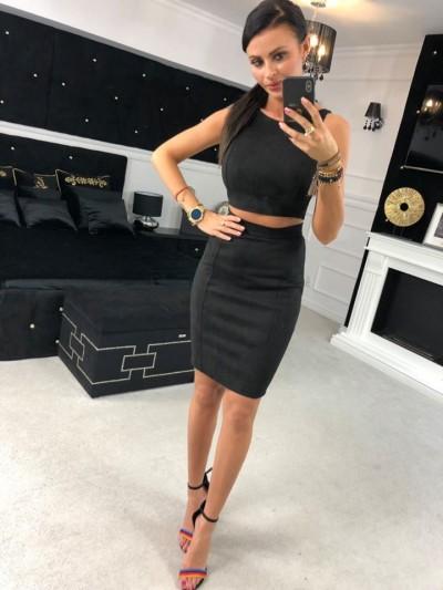 komplet zamszowy top+ spodnica xs/s czarny