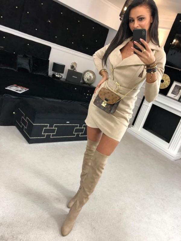sukienka sued bezowa M