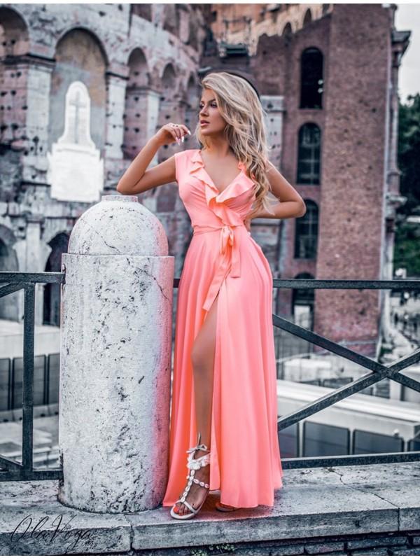 sukienka by love maxi łosoś