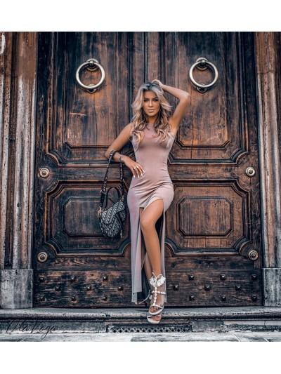 sukienka maxi dress bezowa