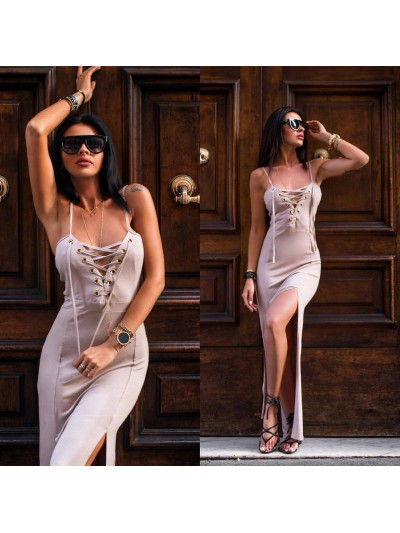 sukienka maxi ring beżowa