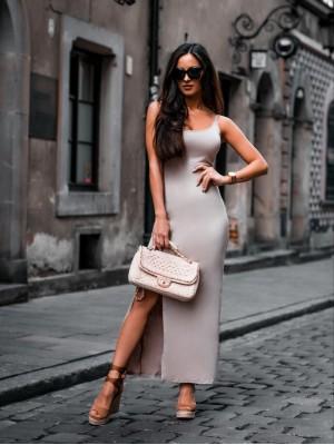 sukienka susnset bezowa