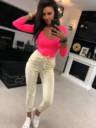 spodnie casual zółte s