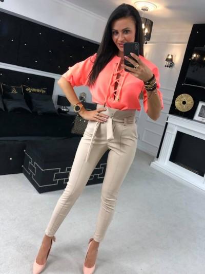 koszula sznurowany dekolt neon orange