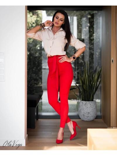 spodnie zamszowe czerwone m