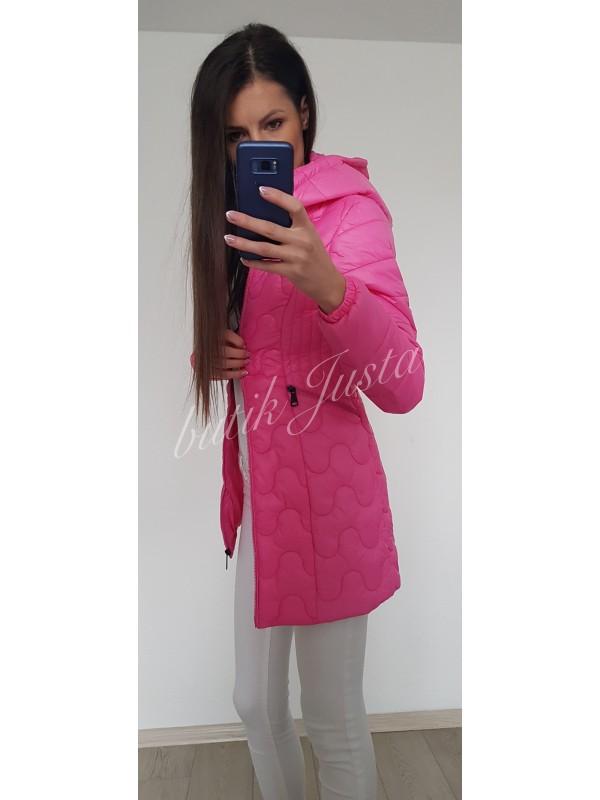 płaszcz pikowany fuksja L