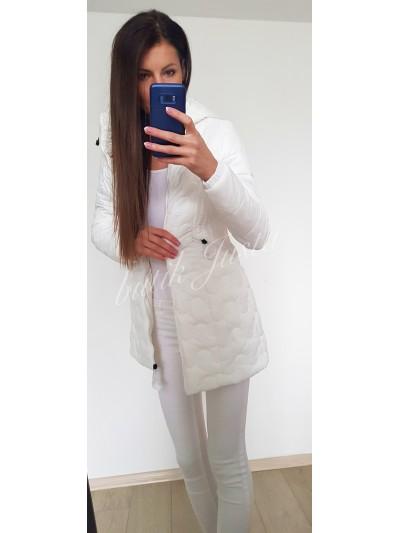 płaszcz pikowany biały s