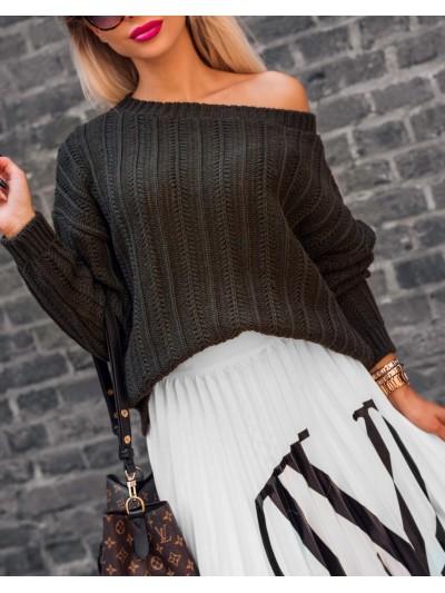 sweter braid khaki