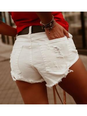 spodenki jeans miami m białe