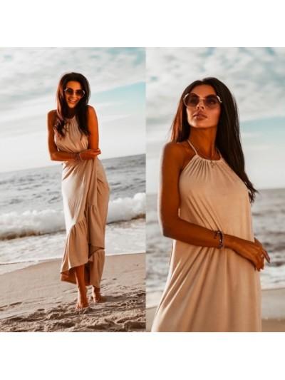 sukienka maxi beach beżowa