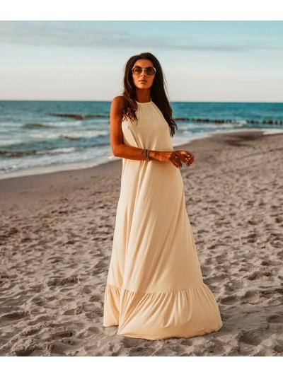 sukienka maxi beach pudrowy żółty