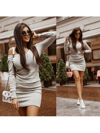 sukienka knitted dress szara m