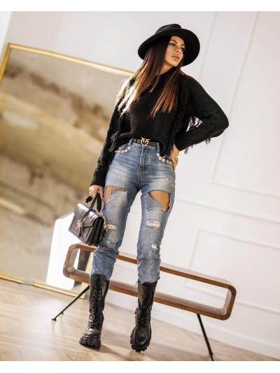 sweter fringe czarny