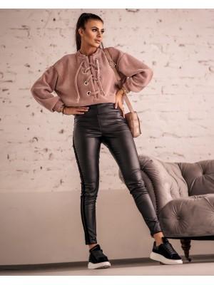 spodnie velur stripe czarne s