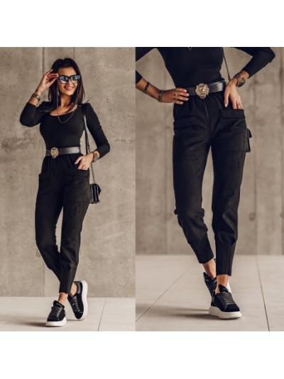 spodnie high czarne s