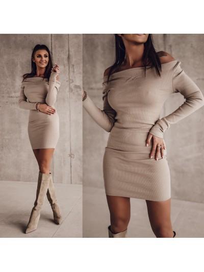 sukienka tight s bezowa