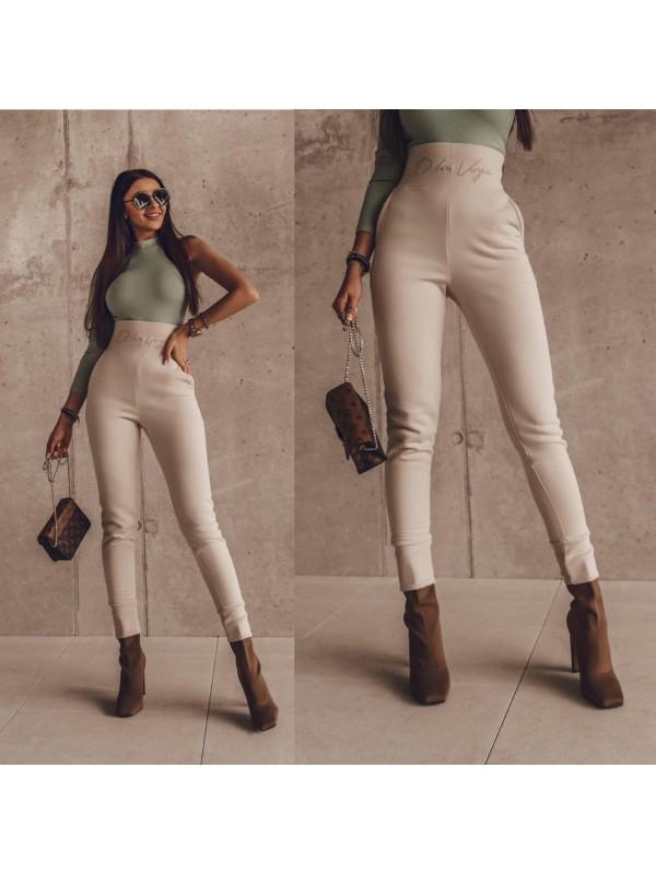 spodnie duble belt beżowe s