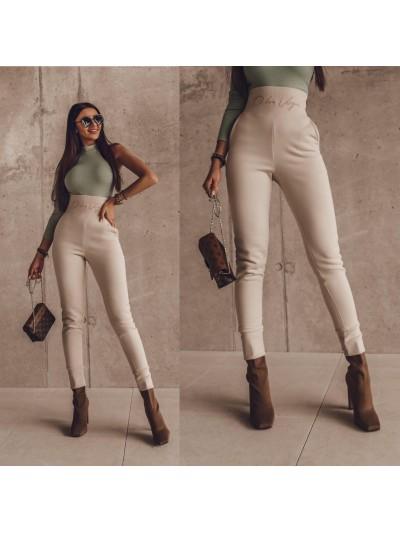 spodnie duble belt beżowe m